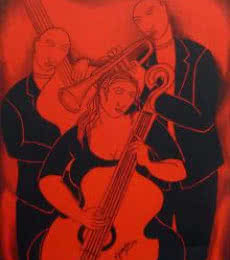 Music Company | Painting by artist Mukesh | acrylic | Canvas