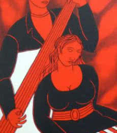 Musical Couple | Painting by artist Mukesh | acrylic | Canvas