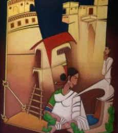 Pasabhai Makwana | Acrylic Painting title Onlooker on Canvas | Artist Pasabhai Makwana Gallery | ArtZolo.com
