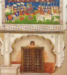 Figurative Acrylic Art Painting title Traditional Indian Door by artist Pradeep Verma