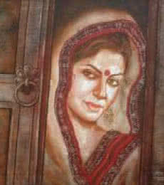 Figurative Acrylic Art Painting title Traditional Woman by artist Manoj Sen
