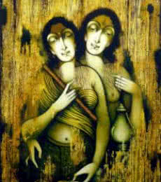 Figurative Acrylic Art Painting title 'Two Women' by artist Manoj Aher