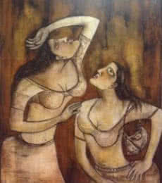 Figurative Acrylic Art Painting title 'Two Women' by artist Sanjay Sinha