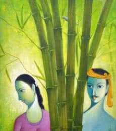 Figurative Acrylic Art Painting title Village Couple by artist Shivkumar