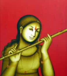 Figurative Acrylic Art Painting title 'Woman Playing Flute' by artist Monica