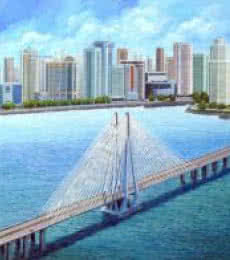DM Ajankar | Acrylic Painting title Bandra Worli Sea Link on Canvas | Artist DM Ajankar Gallery | ArtZolo.com