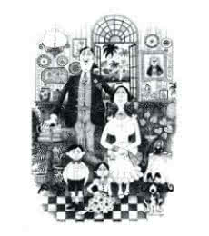 Mario Miranda | Pen-ink Painting title Family Portrait (1971) on Paper | Artist Mario Miranda Gallery | ArtZolo.com