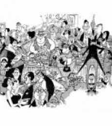 Figurative Pen-ink Art Painting title 'Goan Wedding Banquet (1964)' by artist Mario Miranda