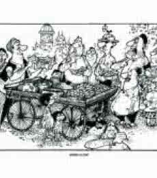 Cityscape Pen-ink Art Painting title 'Dinner A La Cart' by artist Mario Miranda