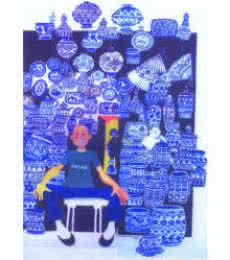 Figurative Pen-ink Art Painting title Famous Blue Pottery by artist Mario Miranda