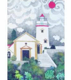 Mario Miranda | Pen-ink Painting title The Light House on Paper | Artist Mario Miranda Gallery | ArtZolo.com