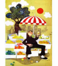 The Fruit seller | Painting by artist Mario Miranda | other | Paper