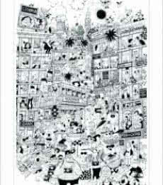Cityscape Pen-ink Art Painting title 'Welcome to Bombay' by artist Mario Miranda