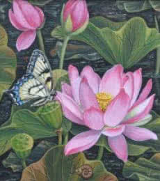 Nature Acrylic Art Painting title 'Lotus Pond' by artist Vani Chawla