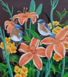Vani Chawla | Acrylic Painting title Birds Duet 2 on canvas | Artist Vani Chawla Gallery | ArtZolo.com