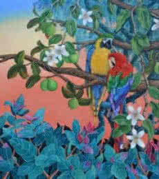 Vani Chawla | Acrylic Painting title Evening Song 2 on Canvas | Artist Vani Chawla Gallery | ArtZolo.com