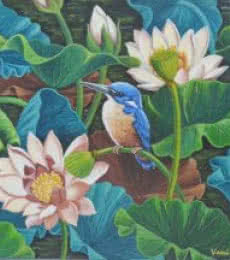 Nature Acrylic Art Painting title 'Bird In Lotus Pond 7' by artist Vani Chawla