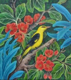 Vani Chawla | Acrylic Painting title Oriole Bird 2 on canvas | Artist Vani Chawla Gallery | ArtZolo.com