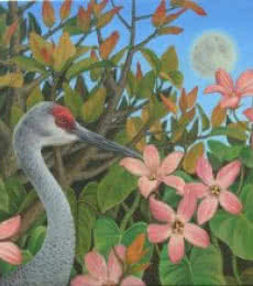 Nature Oil Art Painting title Sandhill Crane by artist Vani Chawla