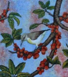 Vani Chawla | Acrylic Painting title Sunbird on canvas | Artist Vani Chawla Gallery | ArtZolo.com