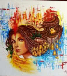 Figurative Acrylic Art Painting title 'Aastha' by artist Sonia Kumar