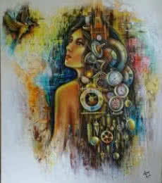 Sonia Kumar | Acrylic Painting title Waiting on Canvas | Artist Sonia Kumar Gallery | ArtZolo.com
