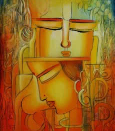 Abstract Acrylic Art Painting title 'Radha remembering Krishna I' by artist NITU CHHAJER