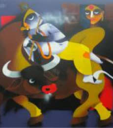 Figurative Acrylic Art Painting title Flute by artist Uttam Manna