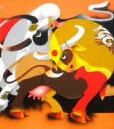 Figurative Acrylic Art Painting title 'Romance' by artist Uttam Manna