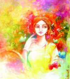 Fantasy Acrylic Art Painting title Color of Love by artist Indrani Acharya