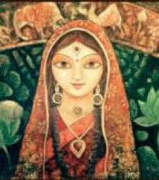 Figurative Acrylic Art Painting title 'Devi I' by artist Indrani Acharya
