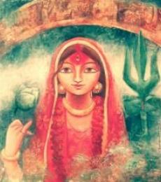 Figurative Acrylic Art Painting title 'Devi II' by artist Indrani Acharya