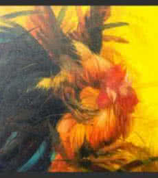 Cock fight | Painting by artist NAGENDRAN DURAISAMI | oil | Canvas