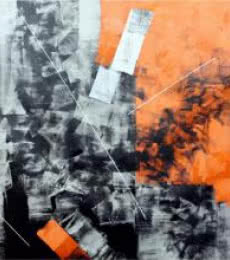 Abstract Oil Art Painting title 'Orange Abstract' by artist Sudhir Talmale