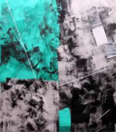 Sudhir Talmale | Oil Painting title Green Abstract on Canvas | Artist Sudhir Talmale Gallery | ArtZolo.com