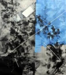 Sudhir Talmale | Oil Painting title Blue Abstract on Canvas | Artist Sudhir Talmale Gallery | ArtZolo.com
