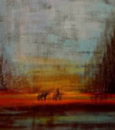 Landscape Acrylic Art Painting title Returning Horses by artist Sheetal Singh