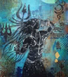 Sheetal Singh | Acrylic Painting title Shivshakti on Canvas | Artist Sheetal Singh Gallery | ArtZolo.com