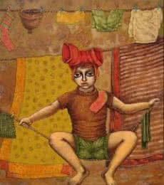 See Saw On A Rope | Painting by artist Ramchandra B Pokale | acrylic | Canvas