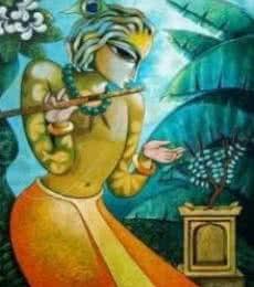 Ramchandra B Pokale | Acrylic Painting title Bansidhar II on Canvas | Artist Ramchandra B Pokale Gallery | ArtZolo.com