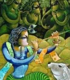 Bansidhar III | Painting by artist Ramchandra B Pokale | acrylic | Canvas
