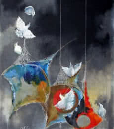 Shiv Kumar Soni Paintings | Acrylic Painting - The joy of kites and birds by artist Shiv Kumar Soni | ArtZolo.com
