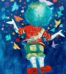 Figurative Acrylic Art Painting title 'The imaginations of childhood' by artist Shiv Kumar Soni