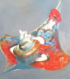 Figurative Acrylic Art Painting title Puppy swinging with kite by artist Shiv Kumar Soni