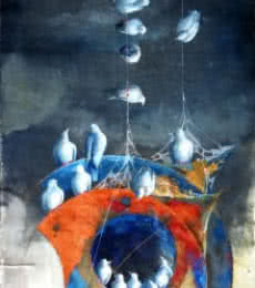 Shiv Kumar Soni | Mixed-media Painting title Play of kites and birds on Canvas | Artist Shiv Kumar Soni Gallery | ArtZolo.com