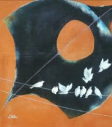 Shiv Kumar Soni Paintings | Acrylic Painting - Black kite and birds by artist Shiv Kumar Soni | ArtZolo.com