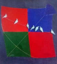 Still-life Acrylic Art Painting title 'kite and birds ix' by artist Shiv Soni