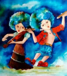 Play of puppy and chicky | Painting by artist Shiv Kumar Soni | acrylic | Canvas