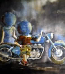 Figurative Mixed-media Art Painting title 'Puppy and chicky on with bike' by artist Shiv Kumar Soni