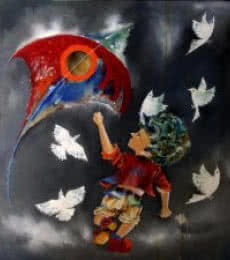 Figurative Acrylic Art Painting title Puppy flying kite by artist Shiv Kumar Soni